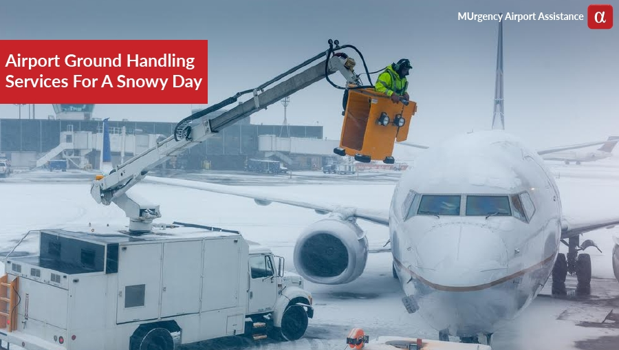 ground handling services snow, de-icing, bad weather, airport services for snowy day,